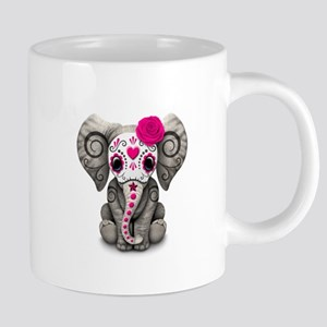 Pink Day of the Dead Sugar Skull Baby Elephant Mug